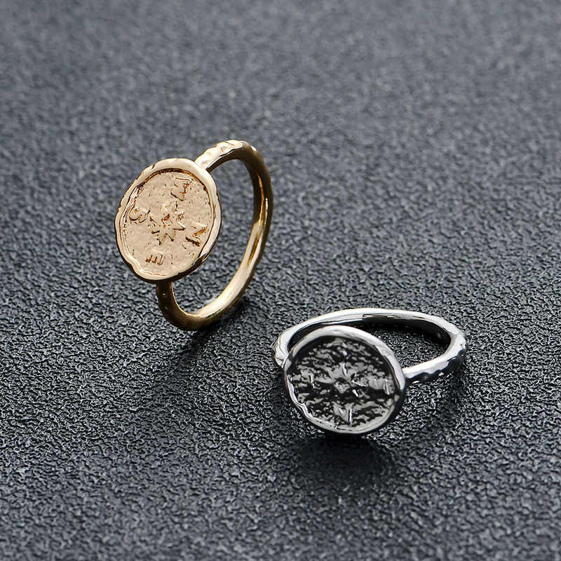 New Arrival Trendy złoty kolor srebrny stop metali kompas Vintage duży okrągły palec monety pierścienie przyjaźń dla kobiet biżuteria prezenty