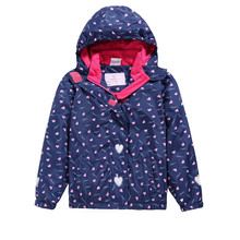 Detachable Hooded Waterproof Warm Baby Girl Jackets Printed Child Coat Kids Outfits Polar Fleece Children Outerwear For 98-150cm
