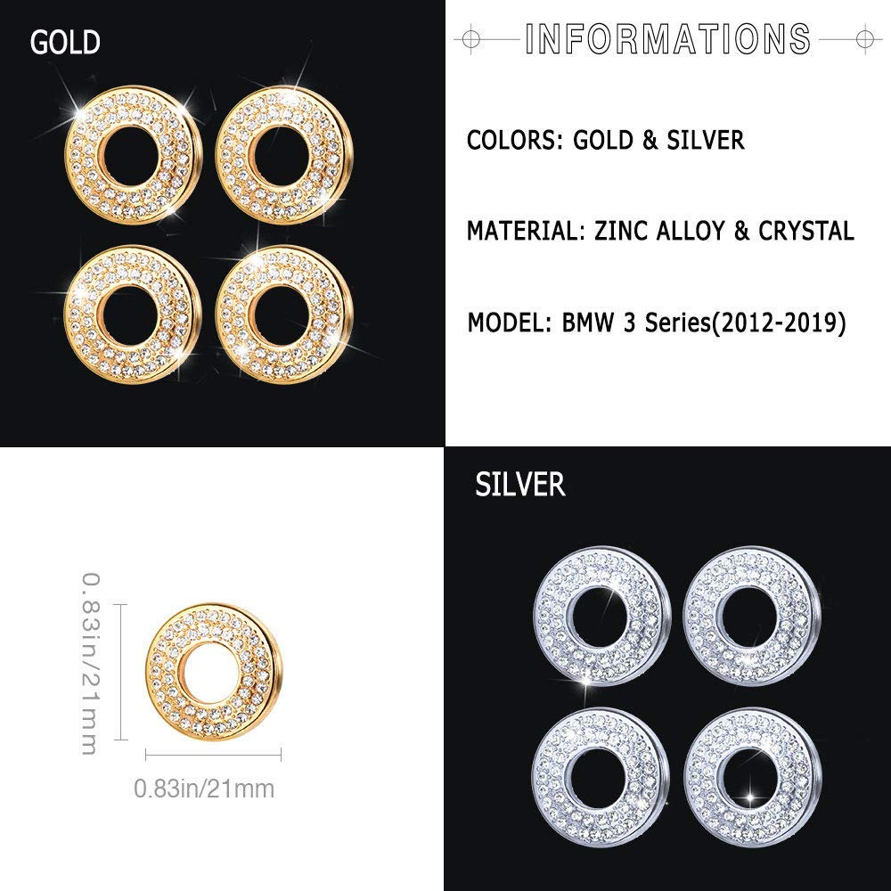 PGONE Bling Crystal Door Lock Pins Caps for BMW Accessories Parts Covers Decal Bling Interior Decorations 3 Series F30 G20 320i 325i 325ix 328d 328i 330i 335i xDrive AWD Women 3 Series Door Lock