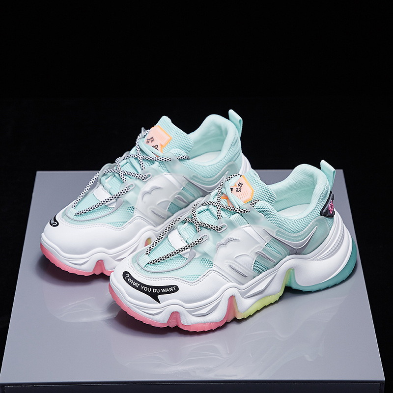 Women Chunky Sneakers Spring Autumn Sneakers Breathable Rainbow Fashion Lace Up Dady Comrfortable 6cm Platform Shoes Women