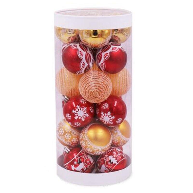 24Pcs Painted Mixed Christmas Tree Decor Balls Xmas Party Window Home Furnish Christmas Hanging Ball Ornament Decoration