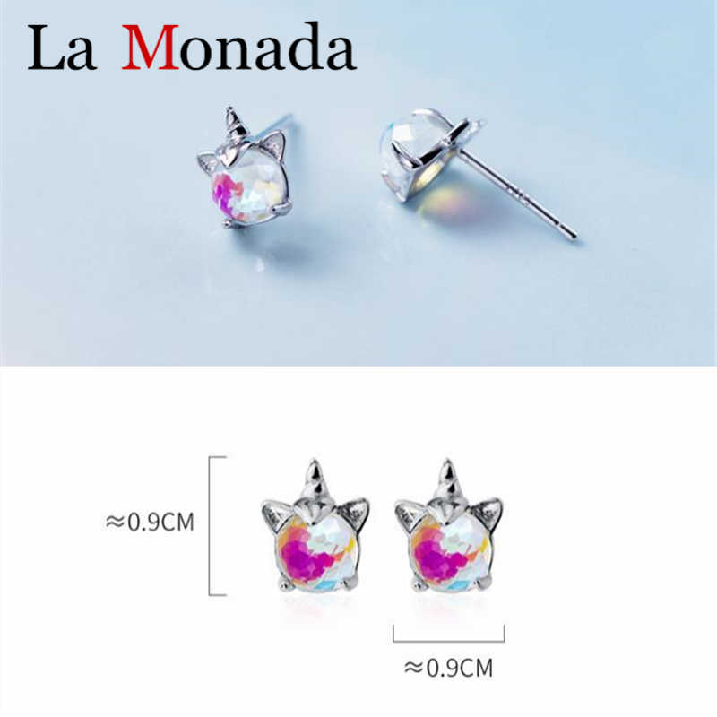 925 Sterling Silver Clean CZ Unicorn Cute Stud Earrings For Baby Kids Women Silver Jewelry pendientes mujer moda