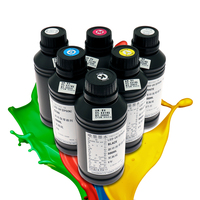 For Epson LED UV Ink 500 ml*6 colors (CMYKWW) for UV flatbed printer use for phone case, metal, acrylic, leather, wood, glass