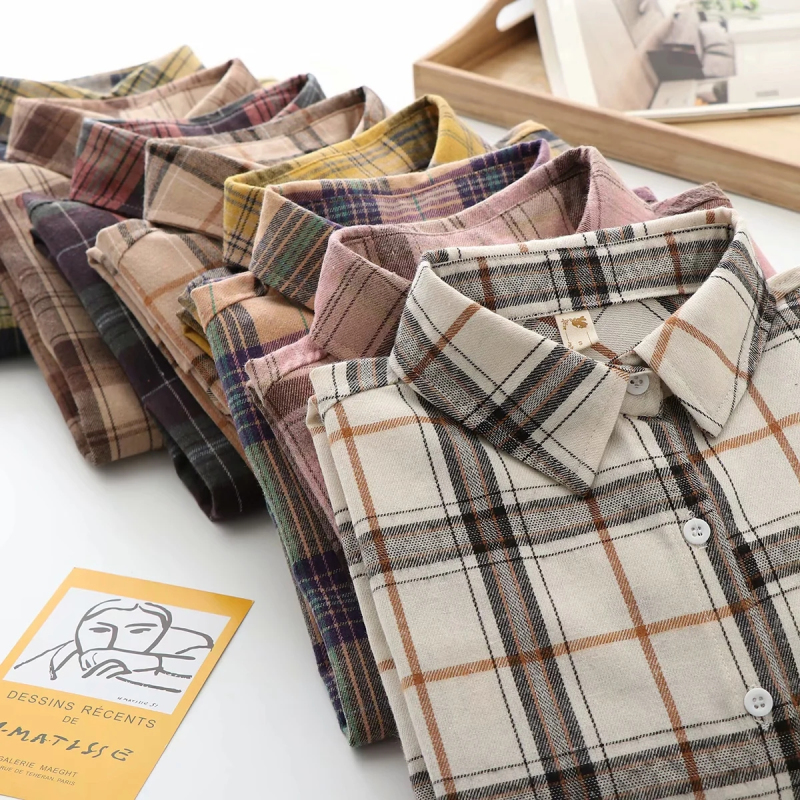 Plaid Women Loose Shirts 2021 Fashion Ladies Casual Shirt Long Sleeve Boho Blouses Vintage Female Tops Streetwear Girls Chic