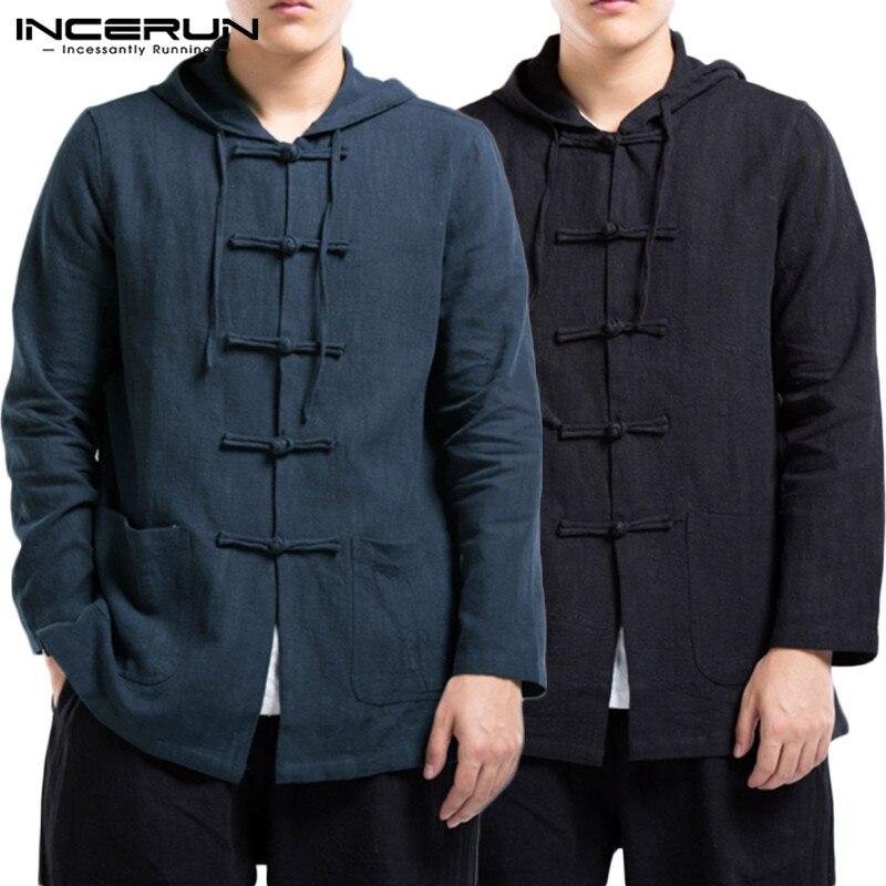 INCERUN Chinese Harajuku Men Pure Color Long Sleeve Casual Hooded Shirt Jackets Fashion Joker Buckle Cotton Men Blouse Hoodie