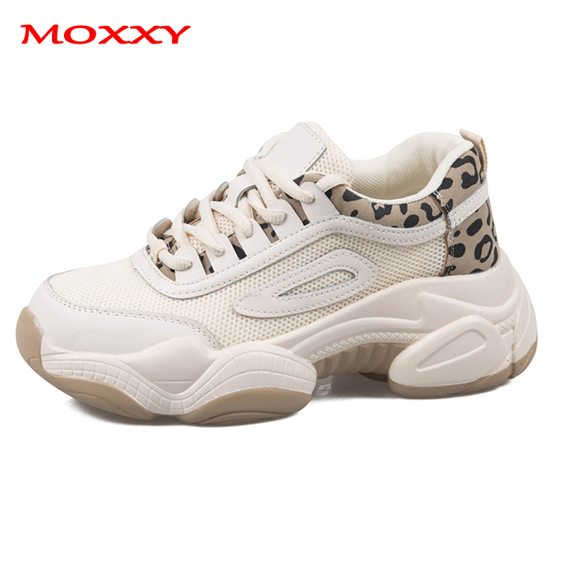 2019 New Vintage Leopard Sneakers Women Shoes Fashion Beige Chunky Dad Sneakers Dames Trainers Casual Shoes Female Basket Femme