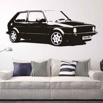 Removable Vintage XL Large Car VW Golf GTI Mk1 Classic Wall Art Decal Sticker Home Decoration Art Mural Paper Car Sticker image