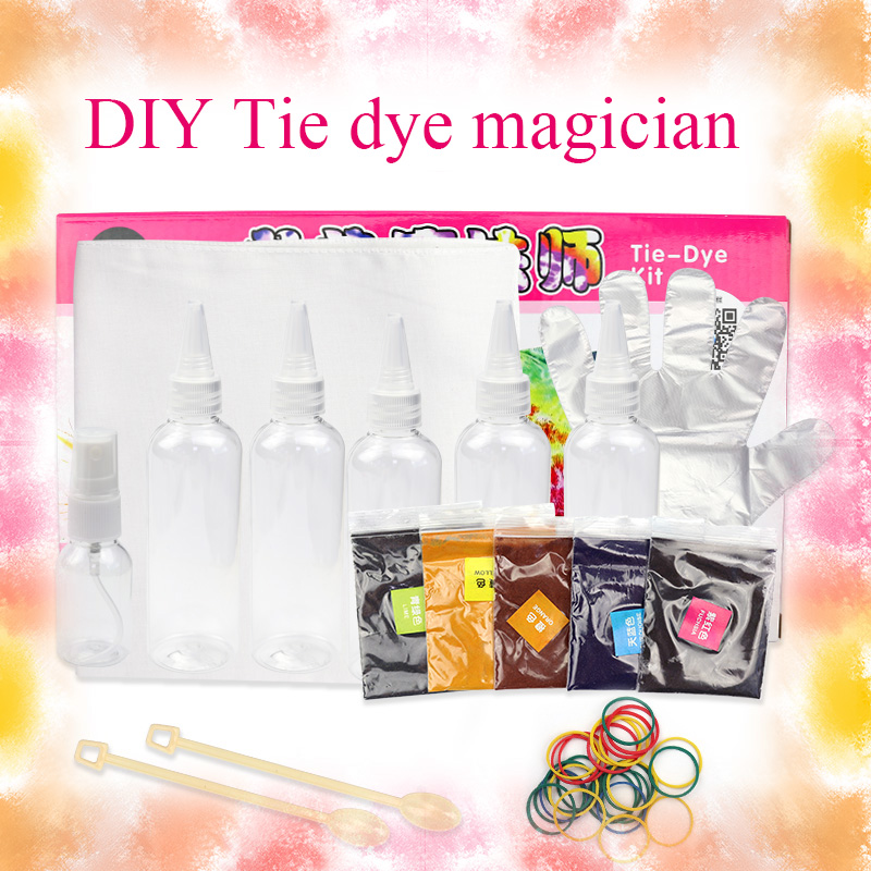Novelty Magical DIY One Step Tie Dye Kit Vibrant Fabric Textile Paint Color For Clothes Scarf Short Sleeve T-shirt Handkerchief