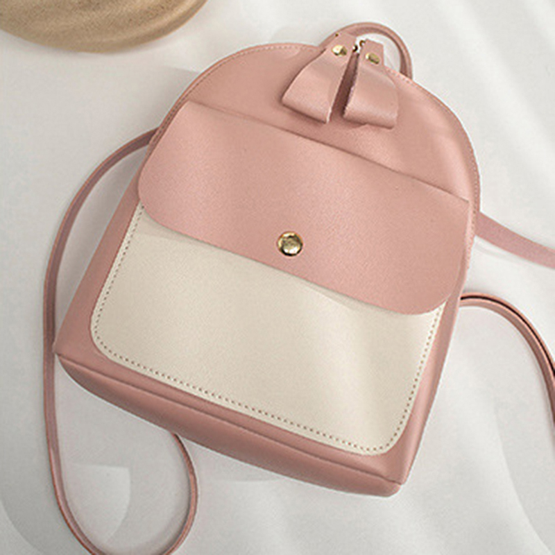2019 Simple Hit Color Backpack Women PU Travel Leather Shoulder Crossbody Small Bags Messenger Backpack