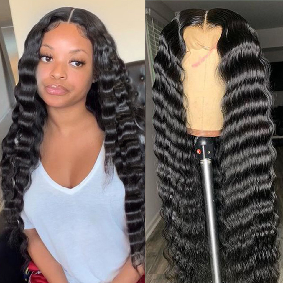 Loose Deep Wave T Part Wig Peruvian Lace Front Wig Remy Human Hair Wigs For Women Pre Plucked Blenched Knots Lace Frontal Wig