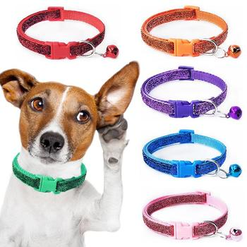 1 Pc Personalized Puppy Dog Collar Shines with Bell Adjustable Collar Cat Strap Dog Pet Collars for Small Medium Large Dogs Hot image