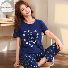 Summer Knitted Cotton Women #8217 s Pajama Set Nightgowns Suits Pants Women #8217 s Cartoon Pajama Sets Mujer 5XL Sleepwear Lounge Clothing cheap CLOUDS EXPRESSION Polyester Plaid 35 Cotton 22601 Round Neck Full Length Pajamas Short pijama mujer pijama Female pajamas women