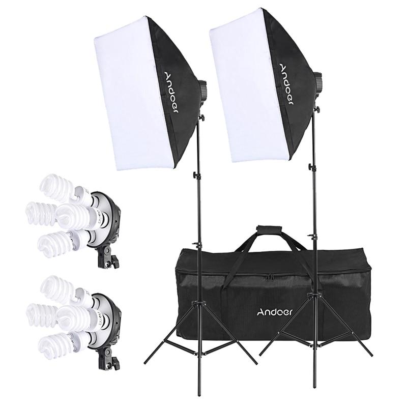 Andoer Studio Photo Lighting Kit With 2 * Softbox 2 * 4in1 Bulb Socket 8 * 45W Bulb 2 * Light Stand 1 * Carrying Bag