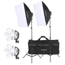 Набор для студийной фотосъемки Andoer с 2 софтбоксами, 2 лампами 4 в 1, 8 лампами 45 Вт, 2 стойками светильник, 1 сумкой для переноски