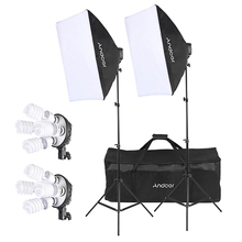CZ Stock Andoer Studio Photo Lighting Kit with 2 * Softbox 2 * 4in1 Bulb Socket 8 * 45W Bulb 2 * Light Stand 1 * Carrying Bag