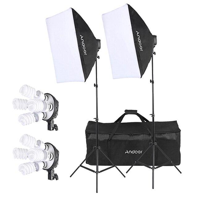 Cz estoque andoer estúdio foto iluminação kit com 2 * softbox 2*4in1 lâmpada soquete 8*45w lâmpada 2 * suporte de luz 1 * saco de transporte