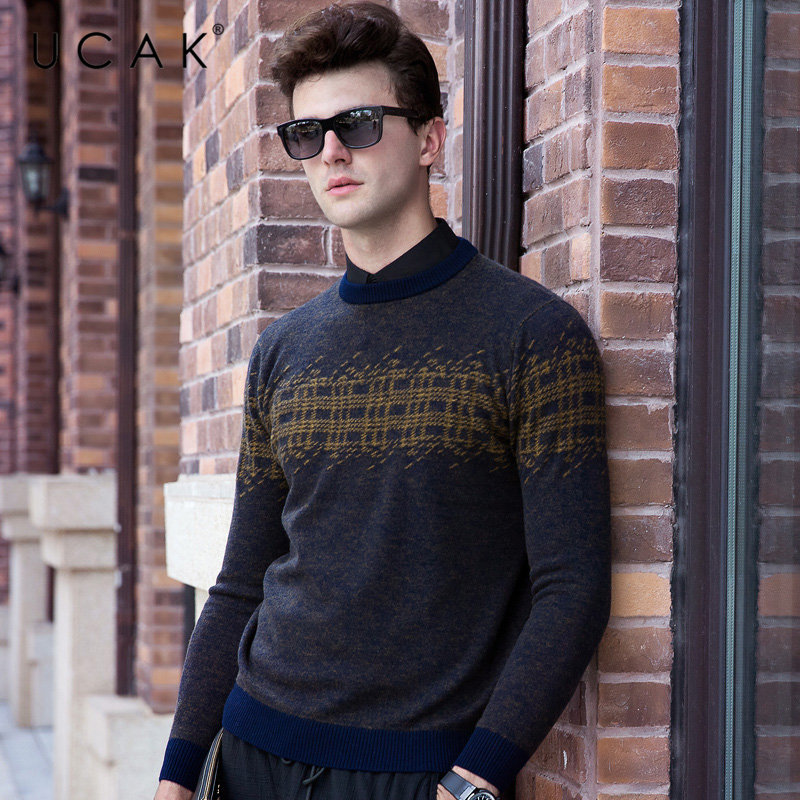 UCAK Brand Pure Merino Wool Sweater Men 2019 New Arrival Autumn 