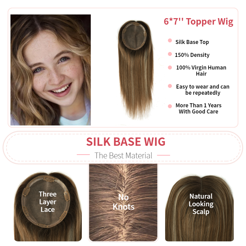 K.S WIGS 14'' 15X17cm Virgin Cuticle Remy Human Hair Topper Wig 150% Density Silk Base With Clip In Hair Toupee For Women