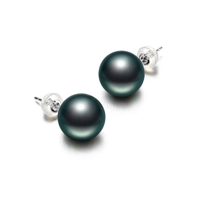 RENESSA 9-10mm Black Tahiti Pearl Studs Earrings 18K Gold Earrings Round Seawater Pearl Jewelry Women Gift