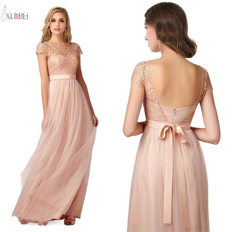 Elegant Pink Long   Bridesmaid     Dresses   2019 A line Wedding Party   Dress   Guest Gown Tulle Backless robe demoiselle d'honneur