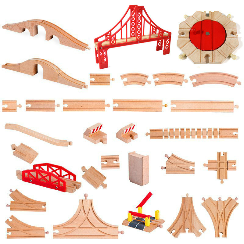 All Kinds Wooden Track Railway Toys Beech Wooden Train Track Accessories fit for Brand Tracks Educational Toys for Children