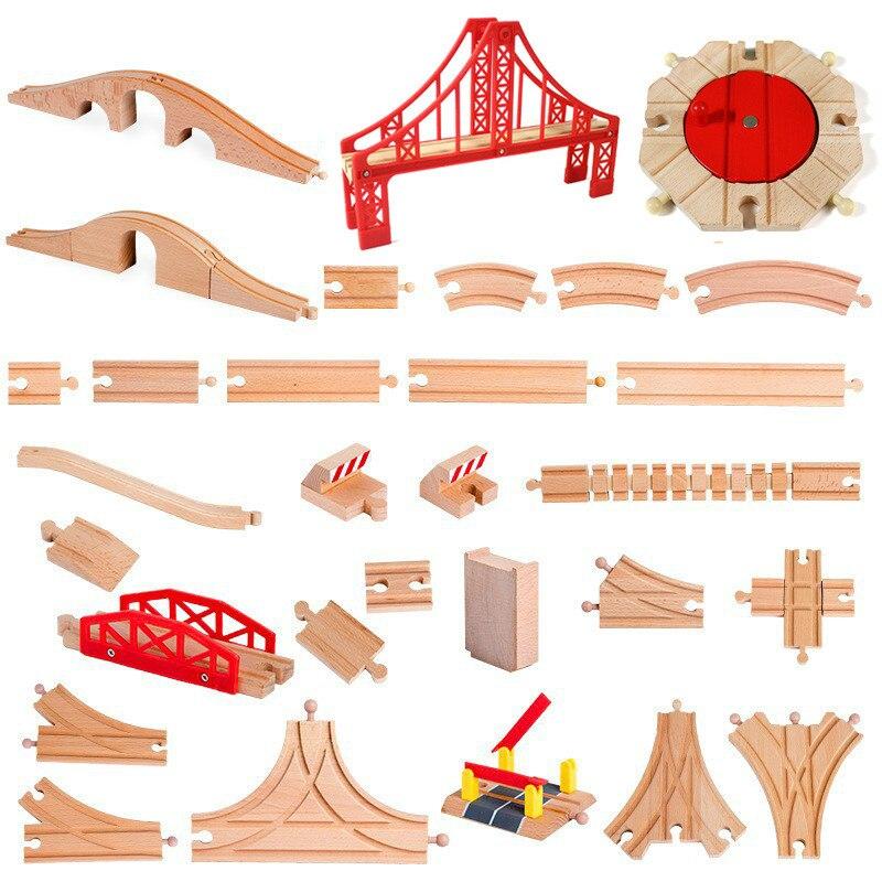 Железная дорога из бука, деревянный трек для поездов, развивающая игрушка для детей, все виды, аксессуары для фирменных дорожек
