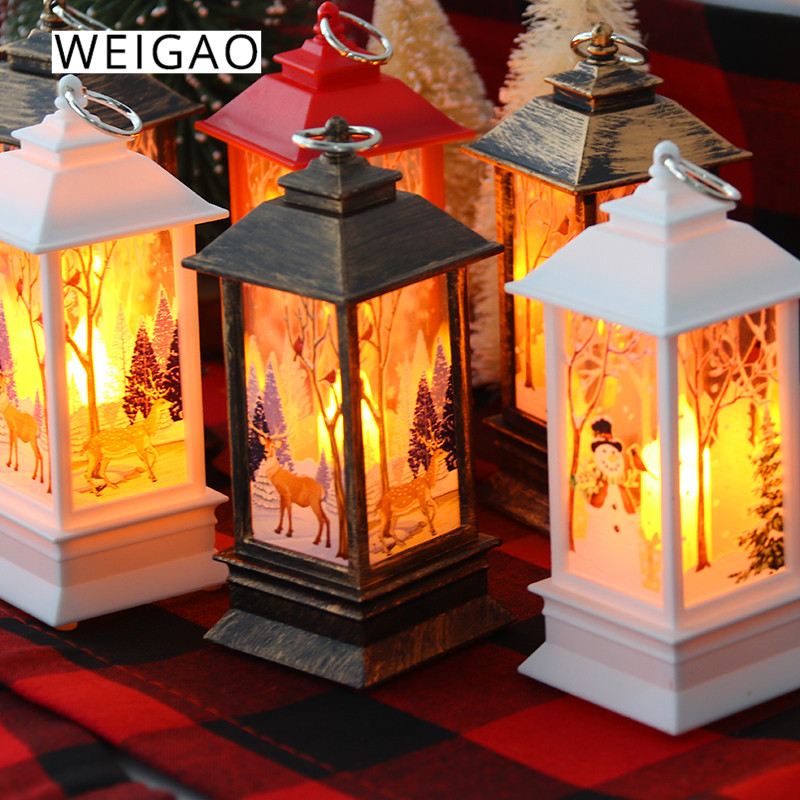Weigao 크리스마스 미니 초 롱 led 차 촛불 램프 집에 대 한 크리스마스 장식 led 빛 크리스마스 트리 장식 새 해 나 탈 선물