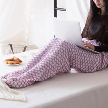 Mermaid Blanket Handmade Knitted Sleeping Wrap TV Sofa Mermaid Tail Blanket Kids Adult Baby crocheted bag Bedding Throws bag knitted fishbone sofa wrap kids mermaid tail blanket