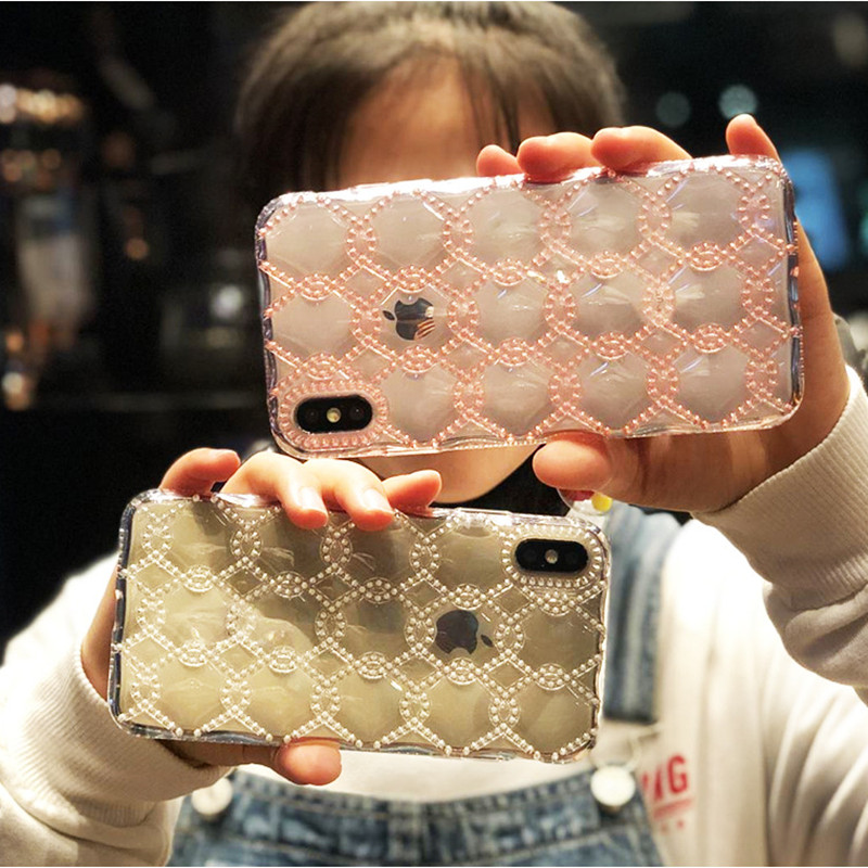 NJIEER Glitter Diamond Texture Case For iPhone X XR XS Max 7 8 6 S 6S Plus Ultra Thin Soft Silicon Cover Transparent Phone Cases