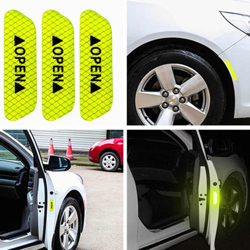 4 ピース/セット車オープン反射テープ警告サインステッカー夜間走行の安全性発光衝突防止ストライプ車のドアステッカー