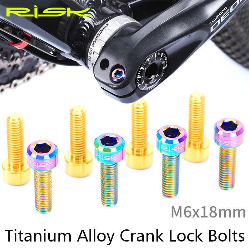 2pcs Risk ไทเทเนียมจักรยาน Crank แขนสลักเกลียว M6 * 18mm MTB Mountain จักรยานสกรู Ultralight ขี่จักรยาน Crank แขนสลักเกลียวจักรยานอะไหล่