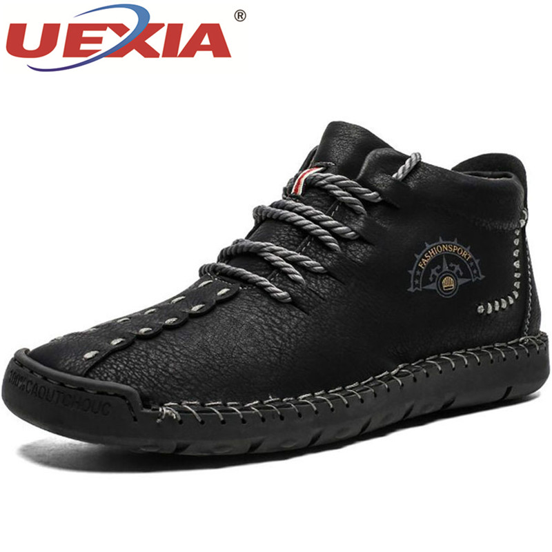 UEXIA Handmade Men's Boots Winter With Fur Plush Warm Snow Boots Men Shoes Footwear Fashion Male Winter Leather Ankle Size 38-50