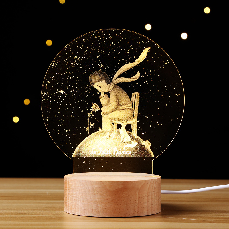 Creative Birthday Gift Lamp Northern European-Style 3D Little Prince Rose Small Night Lamp Christmas Valentine' Gift