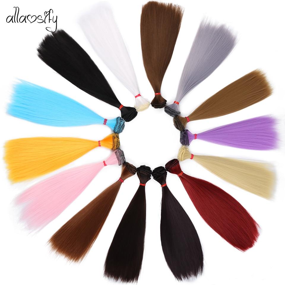 Allaosify Hair For Dolls Bjd Hair 15cm*100cm 25cm*100CM Black Pink White Grey Color Long Straight Dolls Wig For 1/3 1/4 BJD DIY
