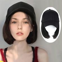 Wig hat one-piece female short straight wave wave hair natural fashion hair band hair cap long straight hair straight hai