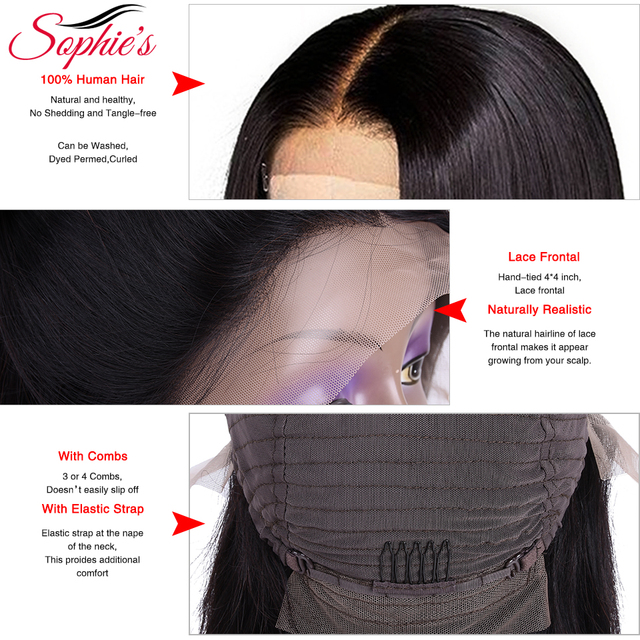 Sophie's 4*4 Lace Closure Short Bob Human Hair Wigs Pre-Plucked Brazilian Straight Human Hair Wigs 150% Density Remy wig 8-14″