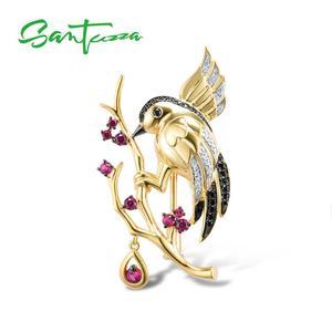 SANTUZZA srebrna broszka dla kobiet 925 srebro żółte złoto kolor ptaki zwierząt utworzono Ruby Fine Jewelry Handmade emalia