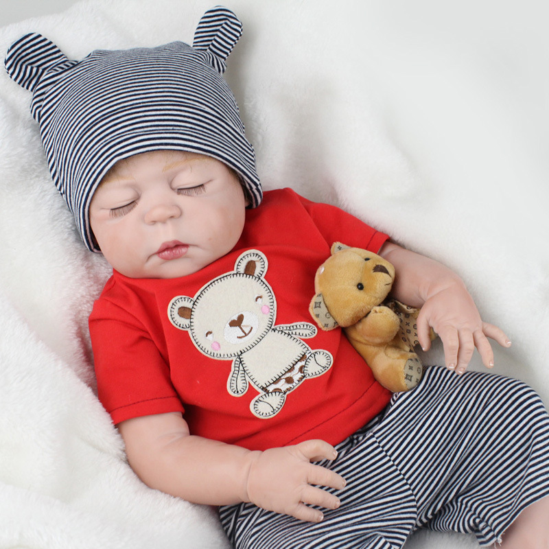 55CM Reborn Baby Doll Handmade Lifelike Newborn Sleeping Babies Dolls Real Soft Silicone Doll Body Toddler Toys Christmas Gifts