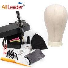 Alileader 교육 마네킹 헤드 캔버스 블록 헤드 디스플레이 스타일링 마네킹 마네킹 헤드 가발 스탠드 무료 T 바늘 홀더 가져 오기