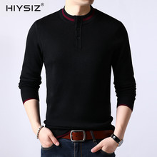HIYSIZ Chinese Style Collar Sweater 2019 Men Long Sleeve Autumn Winter Casual Solid Tops Brand Fashion Trend Pullover SW043