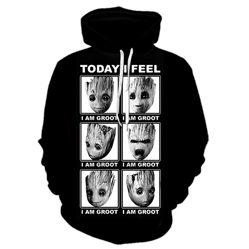 2019 New Sale 3D Art Groot Hoodies Men Women Fashion Autumn Winter Hoody Sportswear Skull Hooded Sweatshirt Jacket 6XL Tracksuit