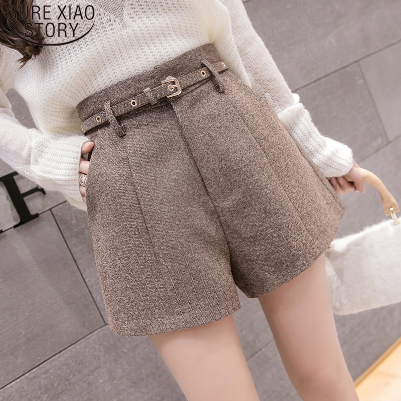 Elegant Leather Shorts Fashion High Waist Shorts Girls A-line  Bottoms Wide-legged Shorts Autumn Winter Women 6312 50 34