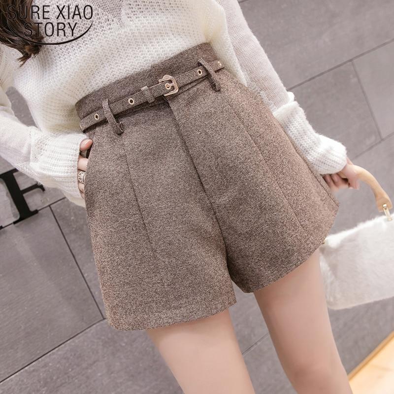 Elegant Leather Shorts Fashion High Waist Shorts Girls A-line Bottoms Wide-legged Shorts Autumn Winter Women 6312 50 57