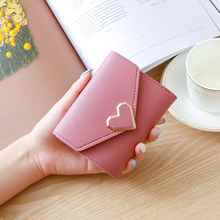 2019 Women Wallets PU Leather Vintage Small Fresh Metal Heart-Shaped Lady Student Short Purse Simple Fashion Wallet