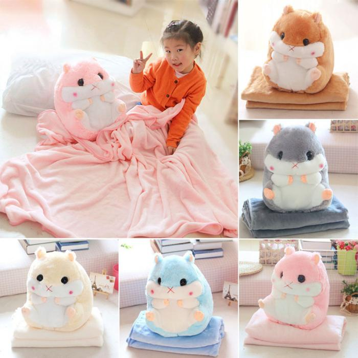HOT 2 In 1 Hamster Cushion Blanket Set Cute Plush Stuffed Throw Pillow With Blanket Toy TI99