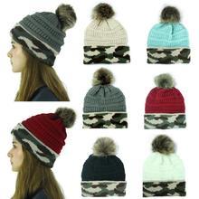 Женская вязаная шапка, модная камуфляжная шапочка, зимняя шапка с помпонами, вязаный бюстгальтер, шапка, уличная теплая шапка s skullies