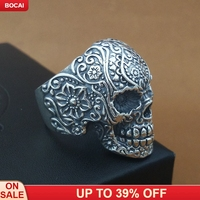 Real solid 925 pure silver skull ring 2019 fashion new skull ring man's silver ring