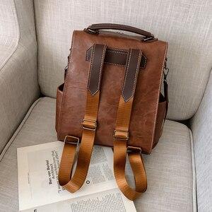 Image 5 - Модный женский рюкзак 2021, вместительные женские рюкзаки из искусственной кожи, Повседневная сумка для школы и колледжа, винтажная классическая сумка на плечо
