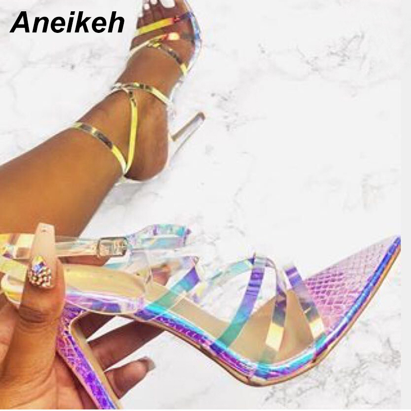 US $17.47 50% OFF|Aneikeh 2019 Summer Fashion PVC Sandals Women Shoes Transparent Thin High Heels Pointed Toe Party Buckle Strap Ankle Size 35 42 in