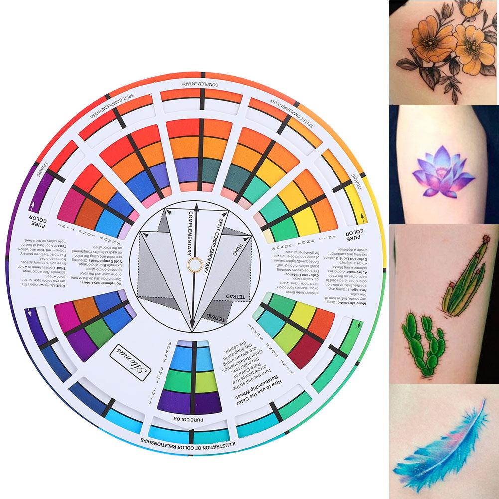 Professional Tattoo Nail Pigment 12 Color Wheel Paper Card Three-tier Design Mix Guide Round The Central Circle Rotates Supplies